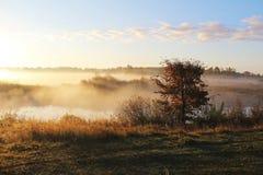 Paesaggio nebbioso della natura sulla mattina in anticipo di autunno La Russia Fotografie Stock