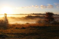 Paesaggio nebbioso della natura sulla mattina in anticipo di autunno La Russia Fotografie Stock Libere da Diritti