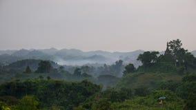 Paesaggio nebbioso a Mrauk U, Myanmar Fotografia Stock Libera da Diritti
