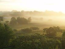 Paesaggio nebbioso nel primo mattino (Burgenland/A Fotografia Stock