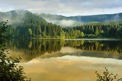 Paesaggio nebbioso in Sösestausee fotografie stock libere da diritti