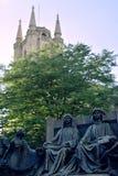 Paesaggio nel bruge con le statue Fotografia Stock Libera da Diritti
