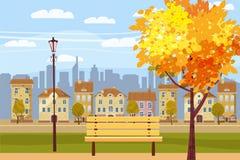Paesaggio nel parco, città, case, panorama, umore autunnale, banco di legno, foglie cadenti, stile del fumetto, vettore di autunn royalty illustrazione gratis