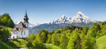 Paesaggio nelle alpi bavaresi, terra di Nationalpark Berchtesgadener, Germania della montagna Fotografia Stock Libera da Diritti