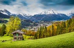 Paesaggio nelle alpi bavaresi, terra di Nationalpark Berchtesgadener, Germania della montagna Immagini Stock