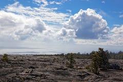 Paesaggio nero della lava - vulcano di Kilauea, Hawai Immagini Stock Libere da Diritti
