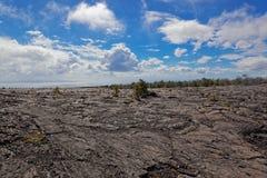 Paesaggio nero della lava - vulcano di Kilauea, Hawai Fotografia Stock