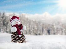 Paesaggio nevoso di inverno con l'uomo della neve Immagine Stock Libera da Diritti