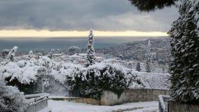 Paesaggio nevoso meraviglioso Fotografia Stock