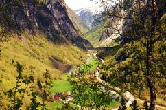 Paesaggio norvegese, Stalheim Voss Fotografie Stock Libere da Diritti