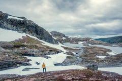 Paesaggio norvegese tipico con le montagne nevose Immagine Stock