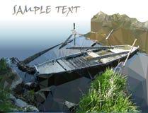 Paesaggio nostalgico con il fiume e l'imbarcazione a remi Immagine Stock Libera da Diritti