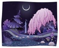 Paesaggio notturno di fantasia sulla riva del fiume. Immagini Stock
