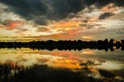 Paesaggio, nuvola, fondo, variopinto, tramonto Immagini Stock Libere da Diritti
