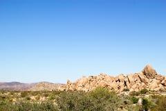 Paesaggio occidentale del deserto con la spazzola verde nella priorità alta e nelle formazioni rocciose e montagne nei precedenti Fotografia Stock