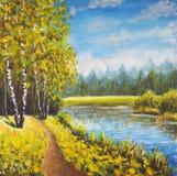 Paesaggio originale di estate della pittura a olio, natura soleggiata su tela Bella foresta lontana, paesaggio rurale Arte modern Fotografia Stock Libera da Diritti