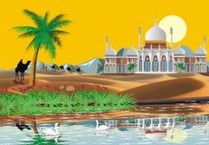 paesaggio Palazzo arabo nel deserto Un'oasi nel deserto Fotografie Stock