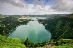 Paesaggio panoramico dalle lagune delle Azzorre Fotografia Stock