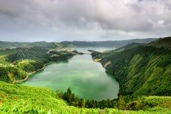 Paesaggio panoramico dalle lagune delle Azzorre Fotografie Stock