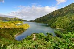 Paesaggio panoramico dalle lagune delle Azzorre Fotografia Stock Libera da Diritti