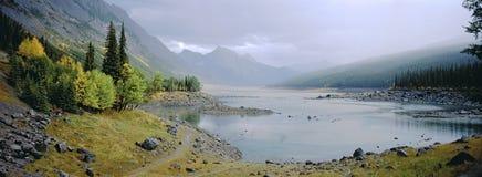 Paesaggio panoramico del lago nebbioso con il fogliame di autunno immagine stock libera da diritti