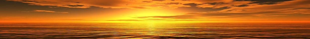 Paesaggio panoramico del mare di tramonto Fotografia Stock