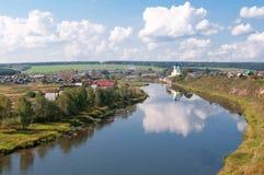 Paesaggio panoramico del villaggio Fotografia Stock Libera da Diritti
