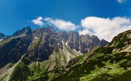 Paesaggio panoramico dell'alta di tatras delle montagne montagna della Slovacchia Immagine Stock Libera da Diritti