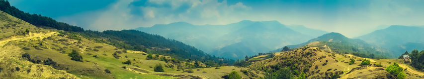 Paesaggio panoramico della montagna Fotografia Stock