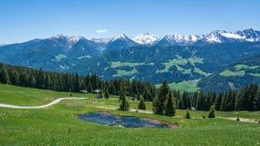Paesaggio panoramico della natura della strada della montagna Valle di Ridanna, Tirolo del sud, Trentino Alto Adige, Italia Immagine Stock Libera da Diritti