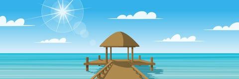 Paesaggio panoramico, piattaforma sul mare Fotografia Stock