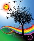 Paesaggio piacevole con un albero Immagine Stock