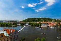 Paesaggio piacevole di Praga Praga da Charles Bridge Tower Fotografia Stock