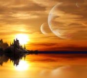 Paesaggio in pianeta di fantasia illustrazione di stock