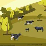 Paesaggio piano dell'azienda agricola con le mucche illustrazione vettoriale