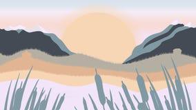 Paesaggio piano della montagna, del lago e della foresta nella sera nel tono caldo Illustrazione di vettore illustrazione vettoriale