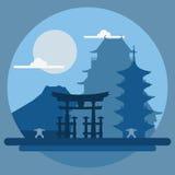 Paesaggio piano di progettazione del Giappone Immagini Stock Libere da Diritti
