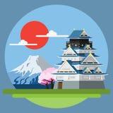 Paesaggio piano di progettazione del Giappone illustrazione vettoriale