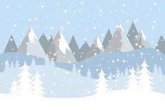 Paesaggio piano di vettore con le siluette degli alberi, delle colline e delle montagne con neve di caduta illustrazione di stock