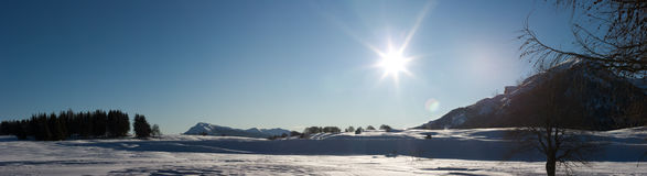 Paesaggio pieno di sole della montagna di inverno Immagine Stock
