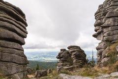Paesaggio pietroso a Dreisesselberg Immagini Stock