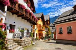 Paesaggio pittoresco dell'Austria della città europea antica di Hallstatt Fotografia Stock Libera da Diritti