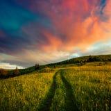 Paesaggio pittoresco di estate con alba variopinta Fotografie Stock Libere da Diritti