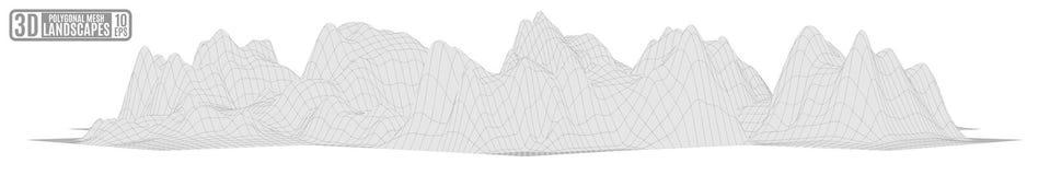 Paesaggio poligonale grigio della montagna su un fondo bianco illustrazione vettoriale