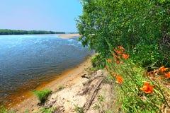 Paesaggio Portage del fiume Wisconsin fotografia stock libera da diritti