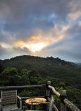 Paesaggio quando il sole sta aumentando Fotografie Stock Libere da Diritti