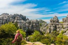 Paesaggio roccioso raro preistorico dall'età giurassica, Torcal d immagini stock
