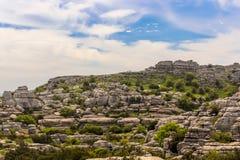 Paesaggio roccioso raro preistorico dall'età giurassica, Torcal d fotografia stock libera da diritti