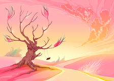 Paesaggio romantico con l'albero ed il tramonto Fotografia Stock