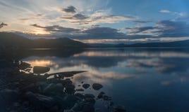 Paesaggio romantico del lago in Europa Fotografia Stock